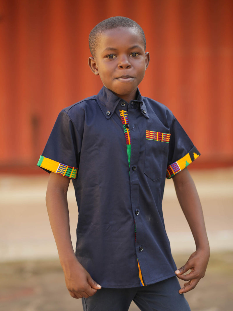 Opoku Modern Kente Navy Blue African short-sleeved shirt
