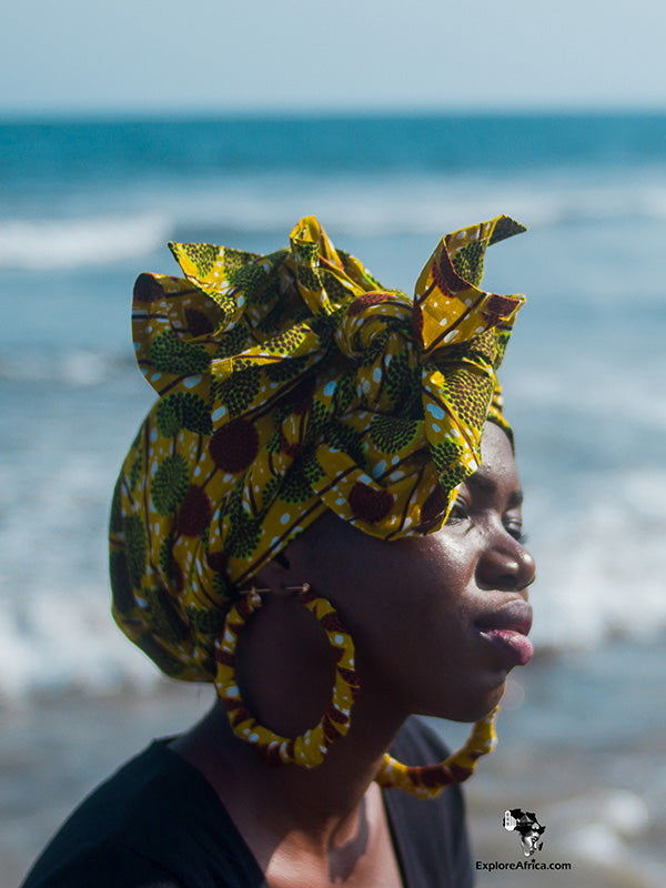 African headwrap and earrings