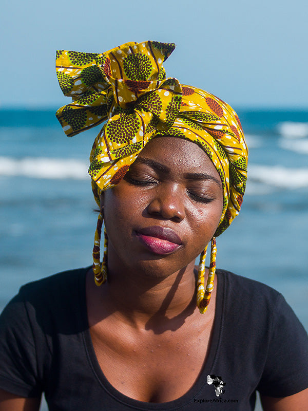 Nyarkoaa African Ankara Head Wrap & Medium Earrings