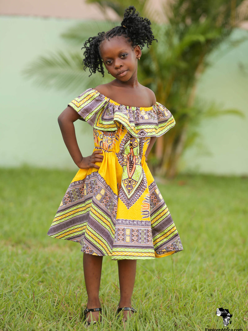 Owusu African Dashiki Dress (Yellow, Green & Purple)
