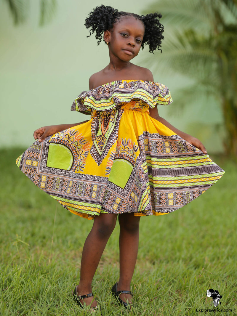 Ohemaa Girl's African Kente Short Sleeved Dress
