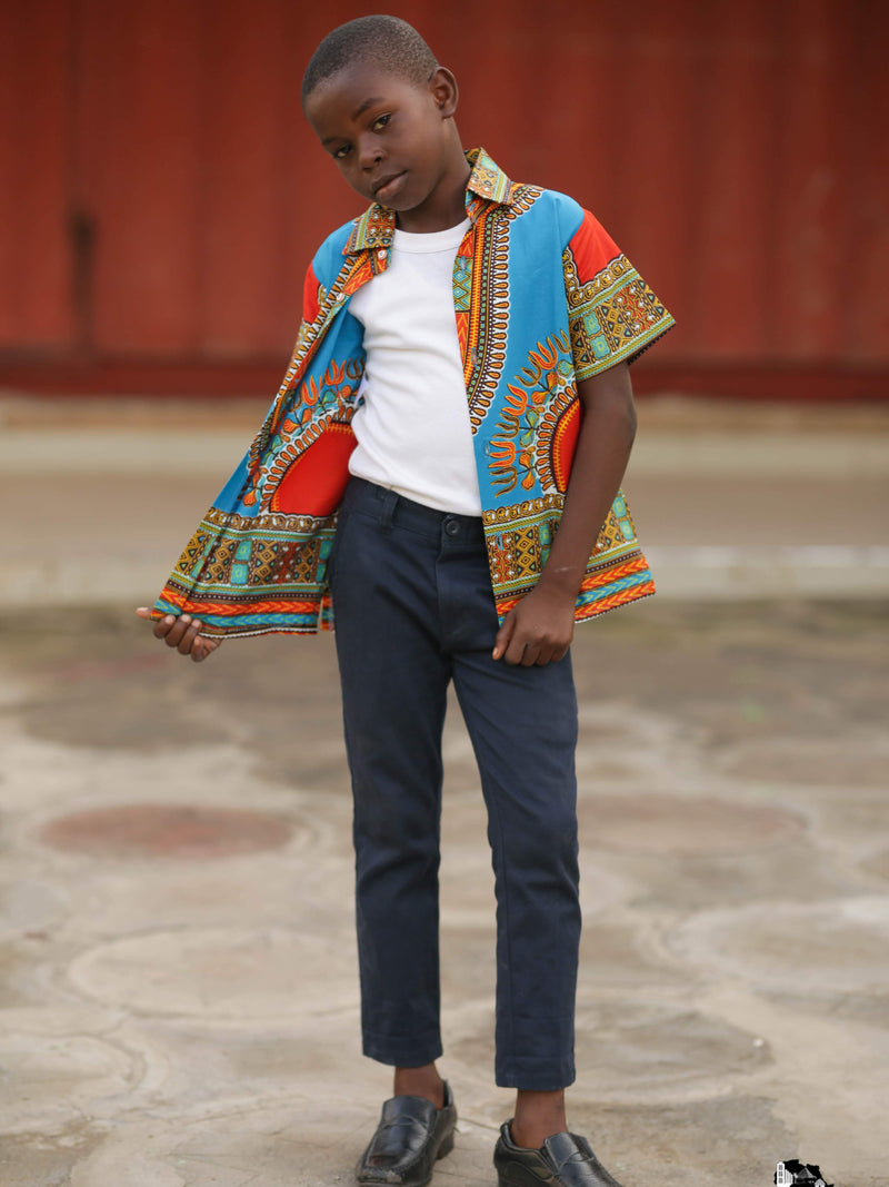 Marfo African Boy's Black Dashiki Shirt