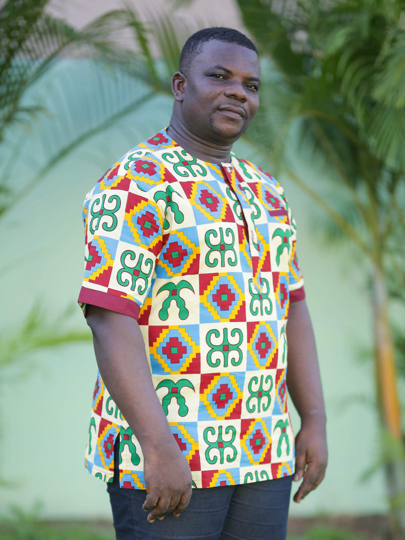 Opoku Modern African Print Shirt- Navy Blue with Kente Trims