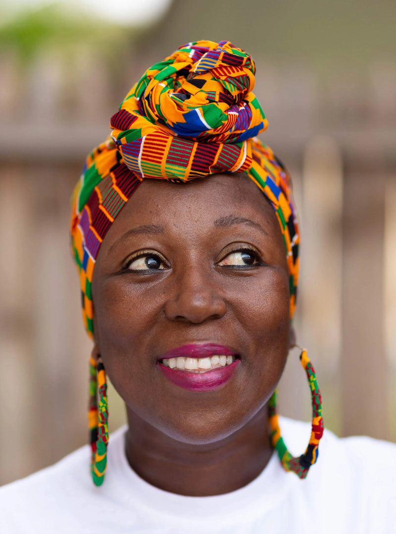 Ama African Kente Head Wrap and Small Earrings