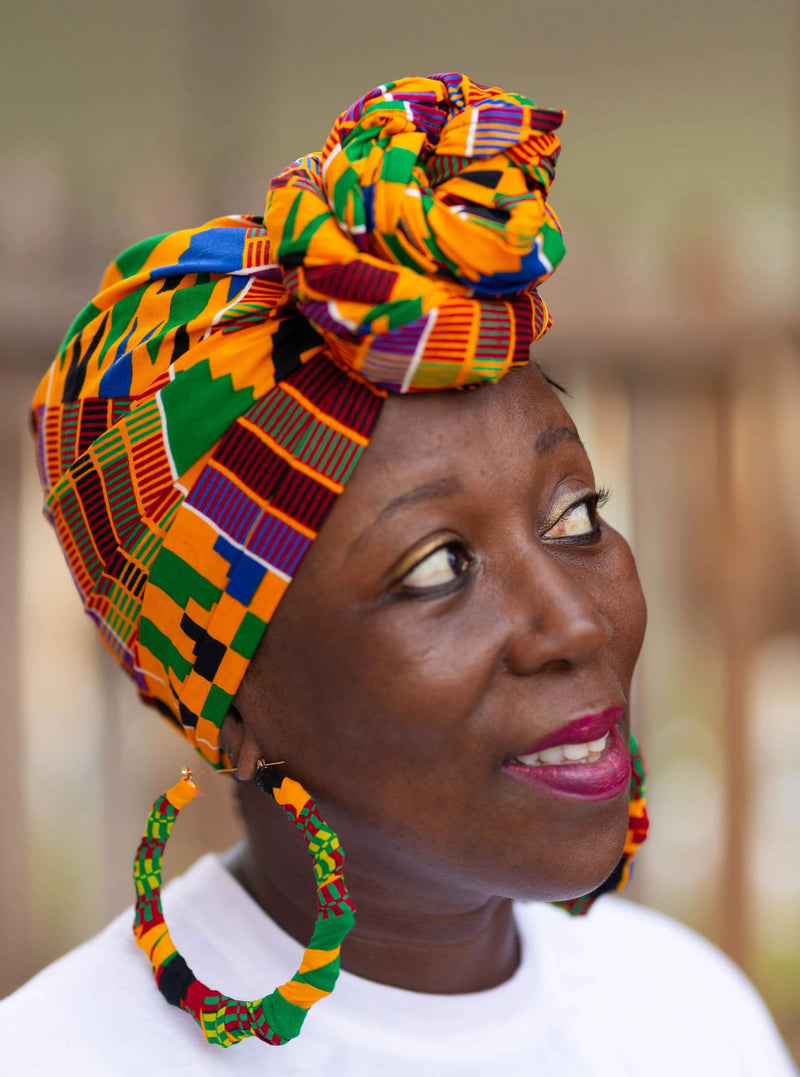 African Clothing Head Wrap and Earrings
