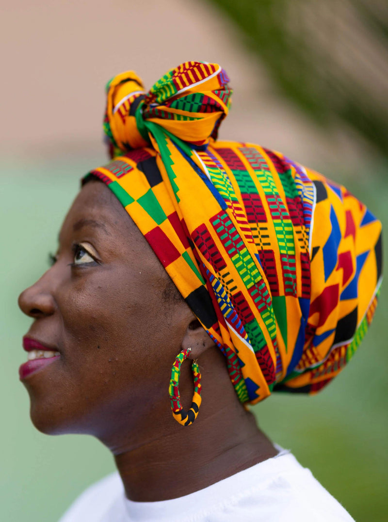 Abena African Kente Head Wrap and Small Earrings