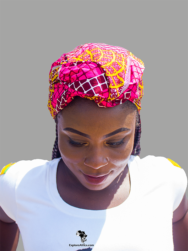 Owusu Green and Yellow African Print (Dashiki) Head Wrap
