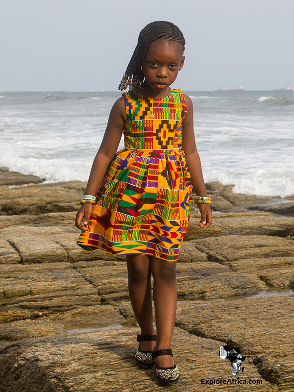 Esinam Girl's Yellow African Ankara Jumper