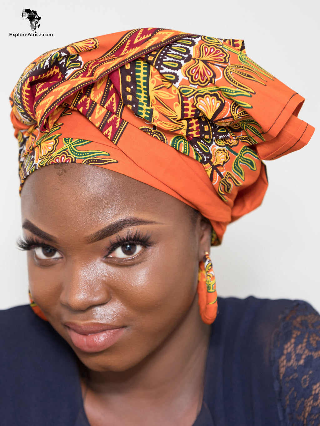 Explore African Clothing Women Head Wrap and Earrings