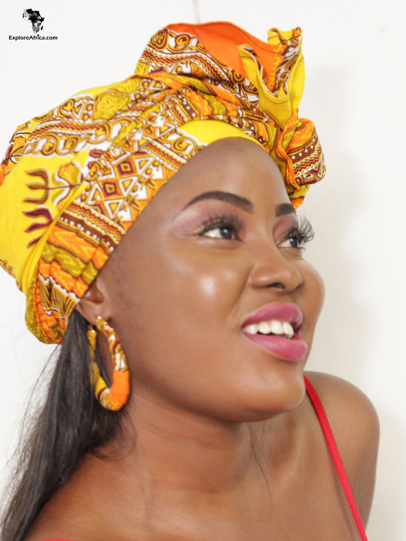 Attaa African Dashiki (Yellow) Head Wrap