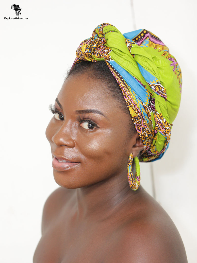 Explore Africa Clothing Women Head Wrap and Earrings