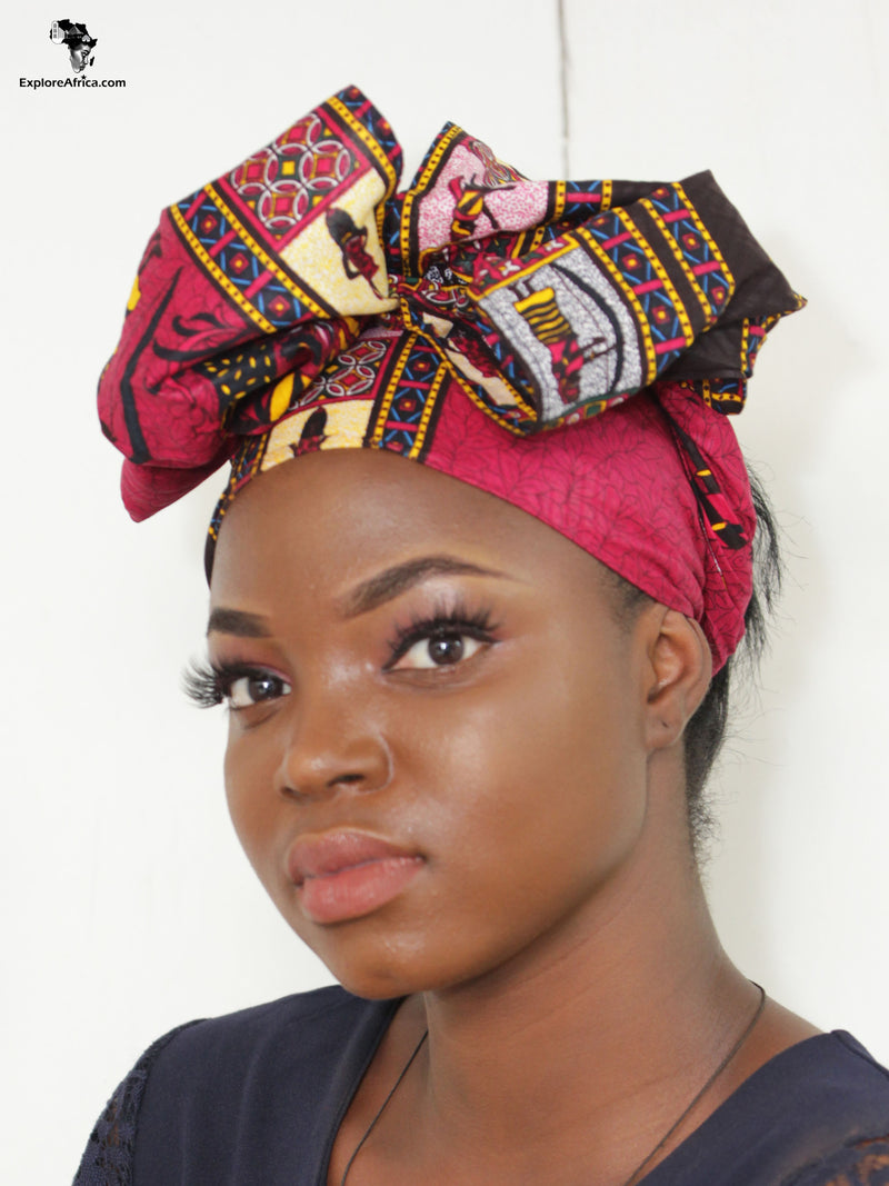 Owusu African Dashiki (Orange) Head Wrap