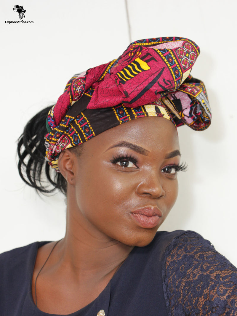 Mama Africa Matching Set - African Dashiki Head Wrap and XL Earrings