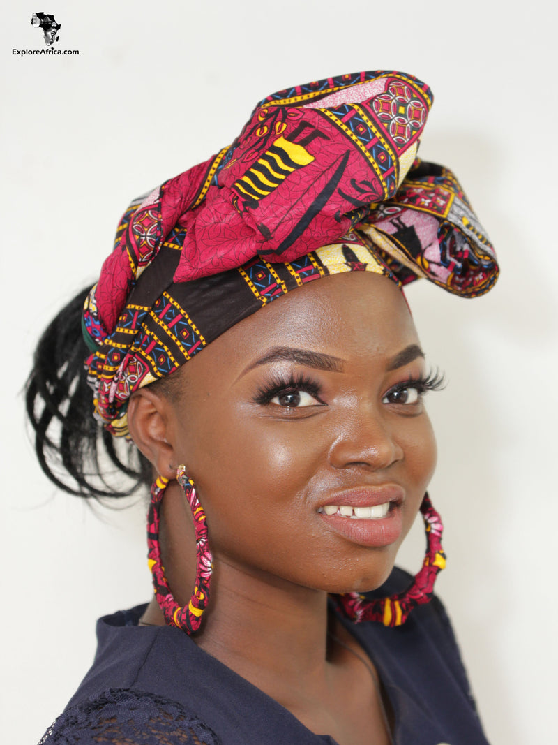 Nkunim African Dashiki Head Wrap and Small Earrings