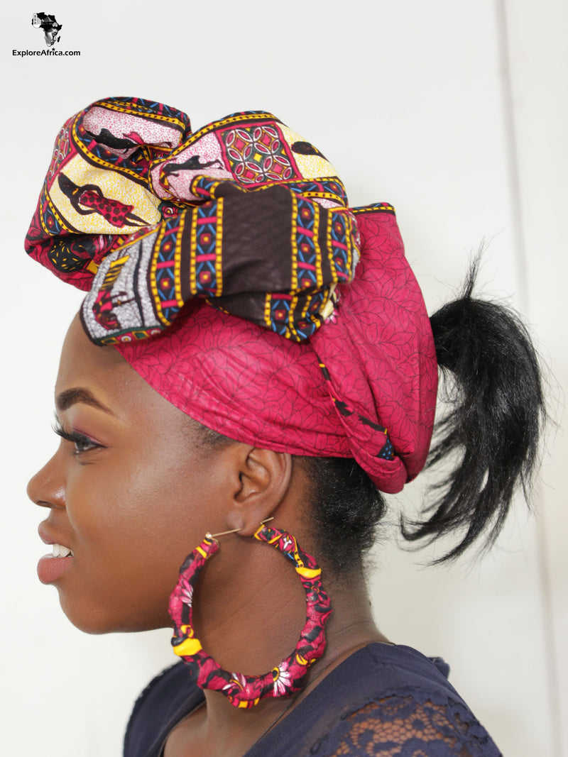 Explore African Clothing Women Head Wraps and Earrings
