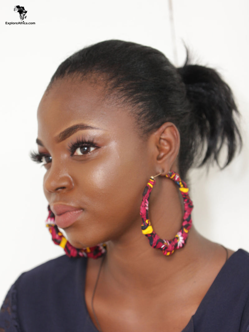 Afriyie Brown African Ankara  Earrings - XL