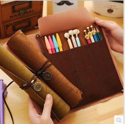 Leather Treasure Map Pencil Cases