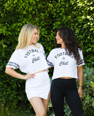 """Football and Chill"" Women's Cropped T-Shirt"