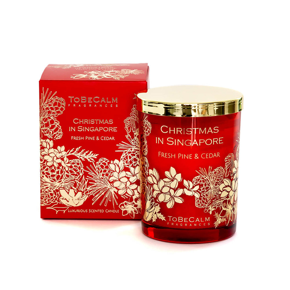 Christmas In Singapore Luxury Large Candle - Fresh Pine & Cedar
