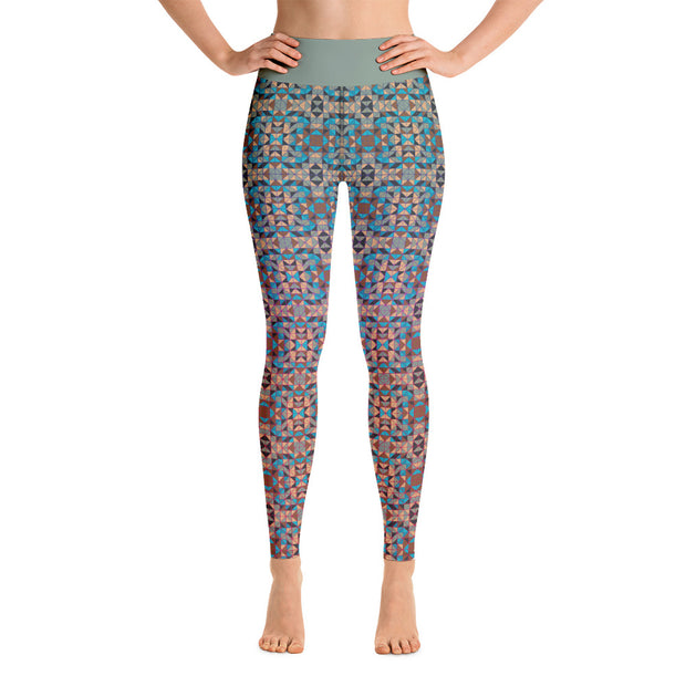 Salmon & Teal Yoga Leggings