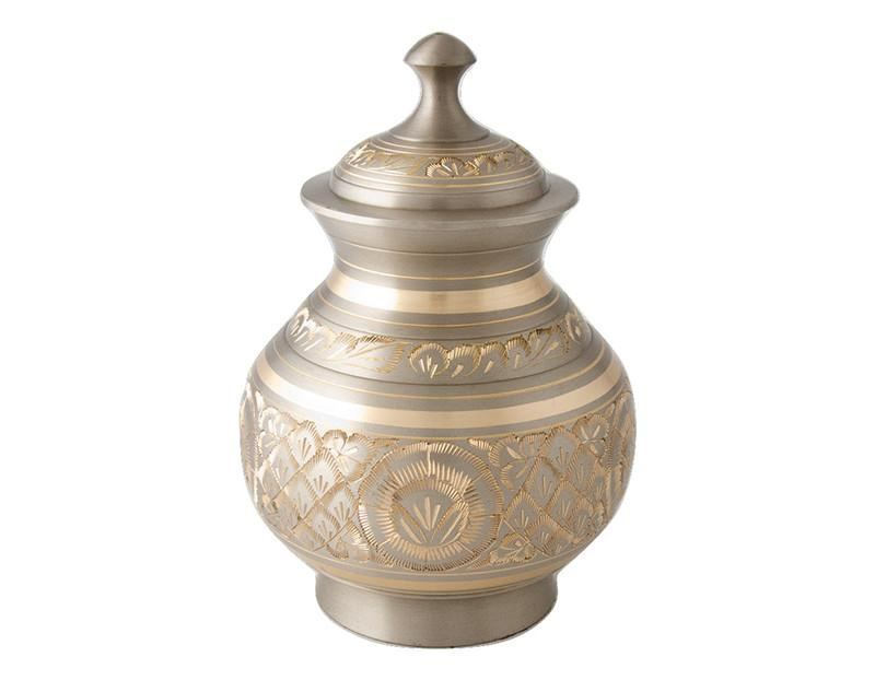 Chanda engraved dome top urn - platinum