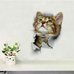 3D Smashed Switch Cats Wall Stickers 4 Pieces Decoration Home Kitchen Toilet NEW