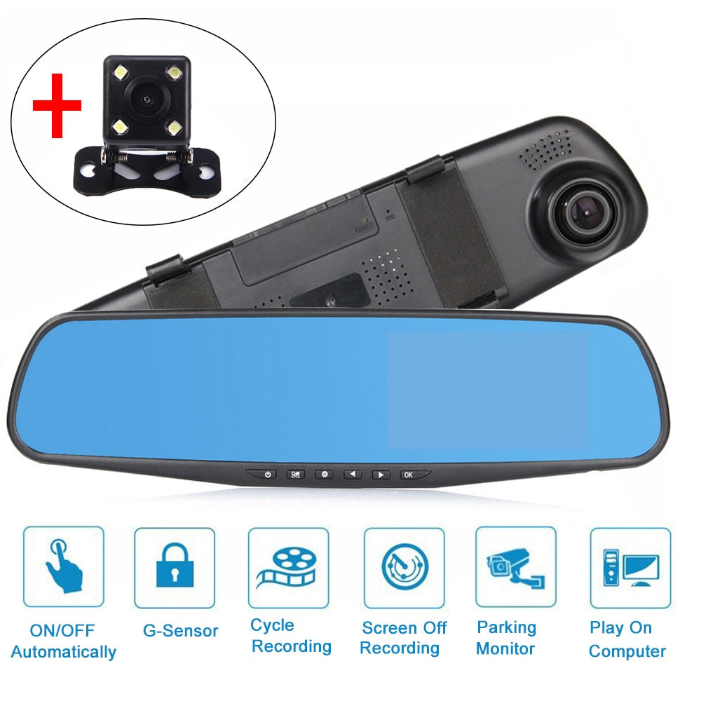4.3 inch 1080P Car Rearview Mirror Camera | Front & Rear Video Recorder