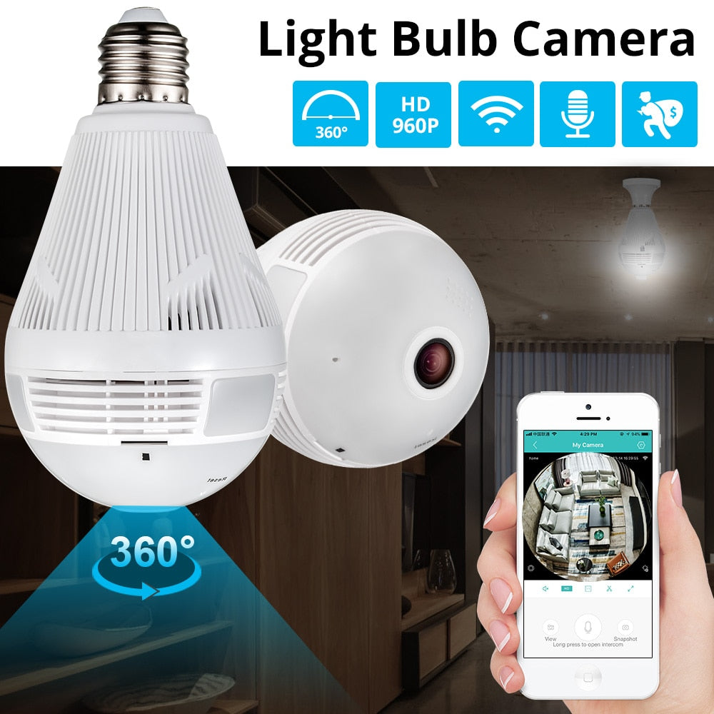 E-Eye : 360 Wi-Fi Light Bulb Home Security | HD 360 Degree Panoramic View