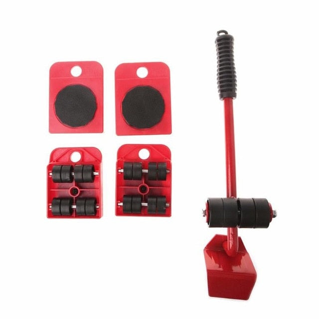 Heavy Furniture Mover Tools Set | 4 Wheeled Mover Roller & Wheel Bar