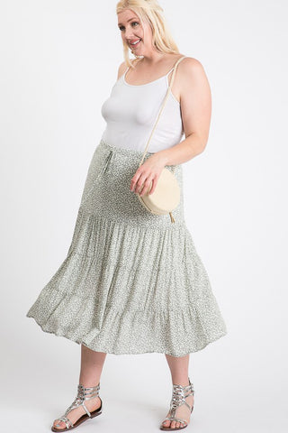 The Sage Floral Ruffle Skirt