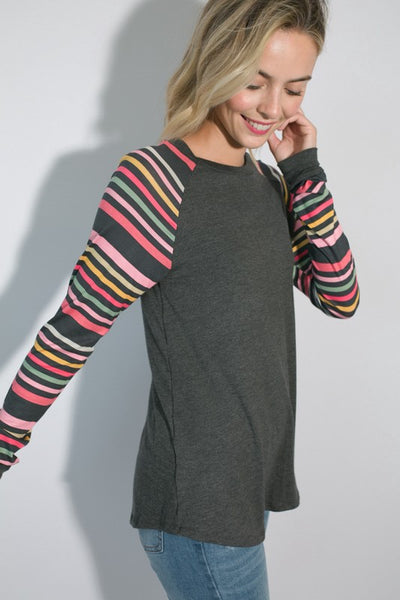 The Jordyn Striped Long Sleeve Top in Charcoal