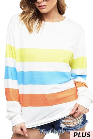 The Jules Stripe Pullover Multi Color Curvy