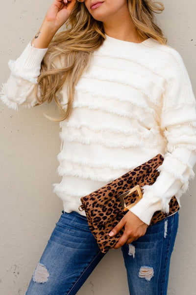 The Jacquie Fringe Sweater in Ivory Curvy