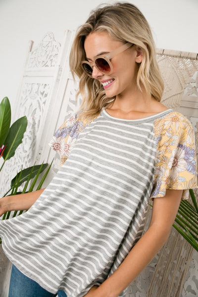 The Vivian Striped Flutter Sleeve Top in Gray