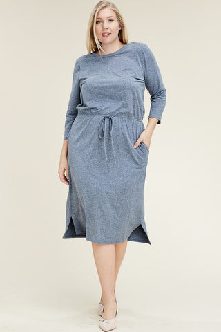 The Jill Casual Knee Length Dress in Denim
