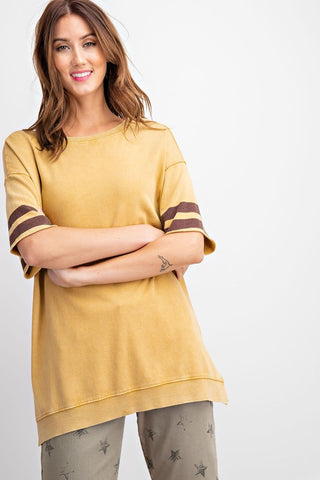 The Crew Athletic Stripe Top in Mustard