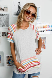 The Mila Striped Pocket Tunic in Gray