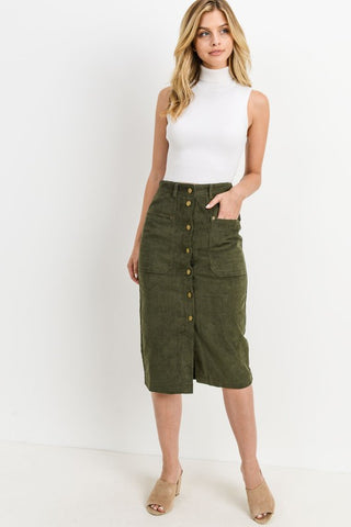 The Allie Corduroy Button Down Skirt in Olive