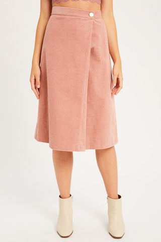 The Charlotte Soft Corduroy Skirt in Blush