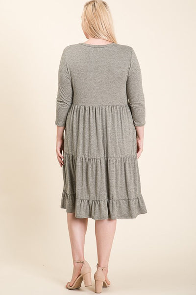 The Holly Soft Tiered Midi Dress in Gray