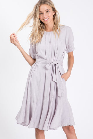 The Jayme Solid Ruffle Dress in Gray