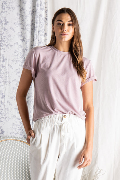 The Riviera Pointelle Top in Dusty Lavender
