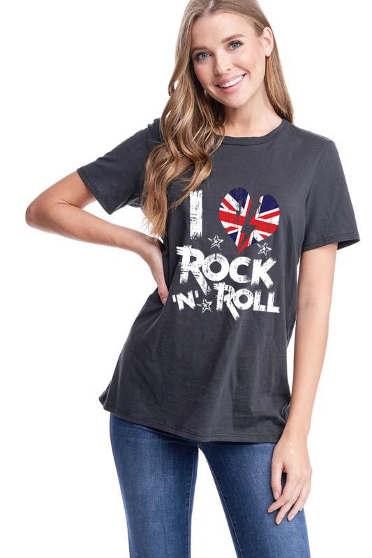 Rock N Roll Graphic Tee in Black