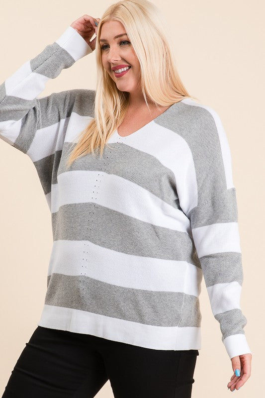 The Shane Stripe Sweater in Gray