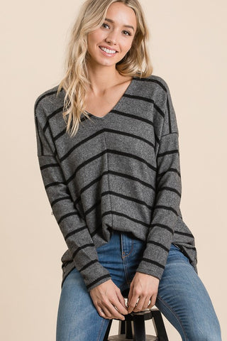 The Lauren Striped Pullover in Charcoal
