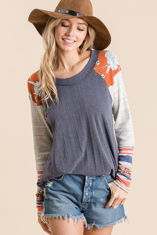 The Rylee Contrast Knit Top in Denim
