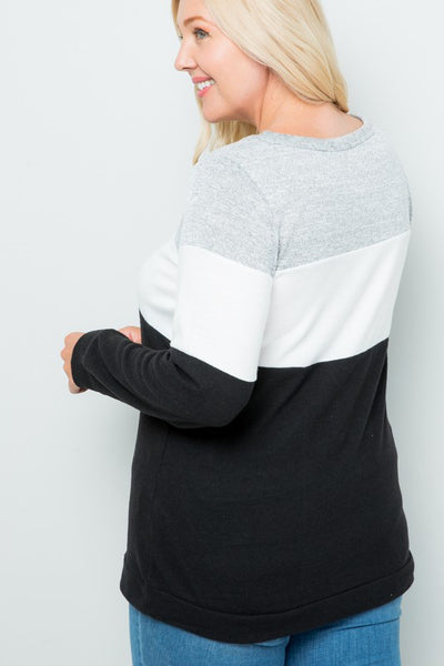 The Bailey Color Block Top in Black