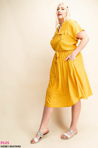 The Mead Shirt Dress in Mustard