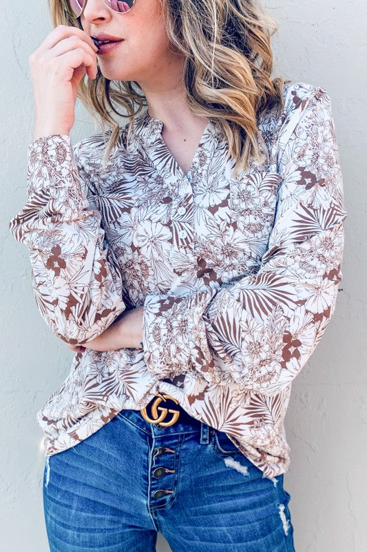 The Maren Floral Knit Top in Taupe