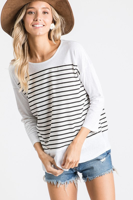 The Esme Stripe Top in White/Black